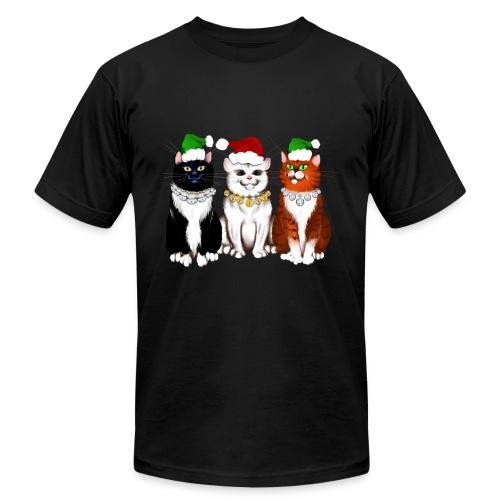 Three Christmas Kitties - Unisex Jersey T-Shirt by Bella + Canvas