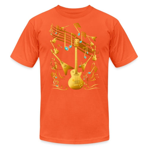 Gold Guitar Party - Unisex Jersey T-Shirt by Bella + Canvas