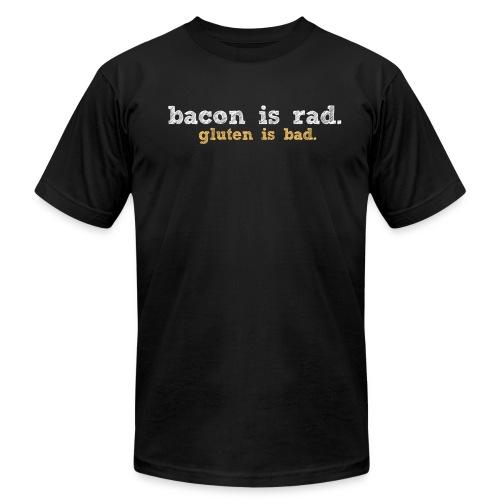 baconvsglutenlg whitetan - Unisex Jersey T-Shirt by Bella + Canvas