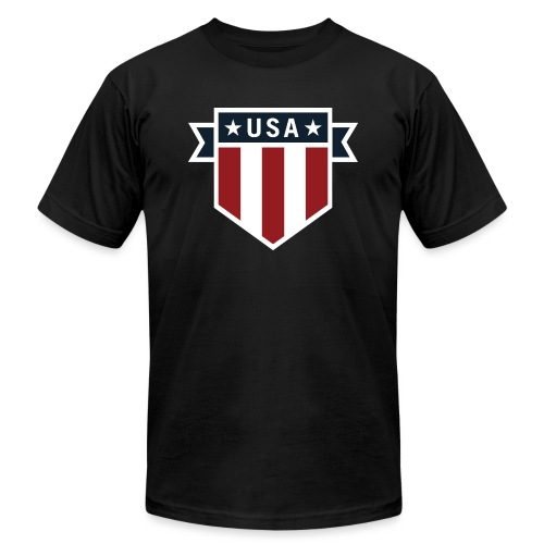 USA Pride Red White and Blue Patriotic Shield - Unisex Jersey T-Shirt by Bella + Canvas