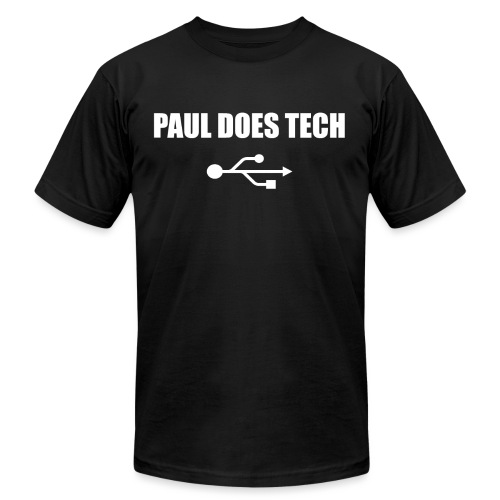 Paul Does Tech White Logo With USB - Unisex Jersey T-Shirt by Bella + Canvas