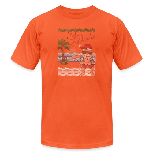 Ugly Christmas Sweater Hawaiian Dancing Santa - Unisex Jersey T-Shirt by Bella + Canvas