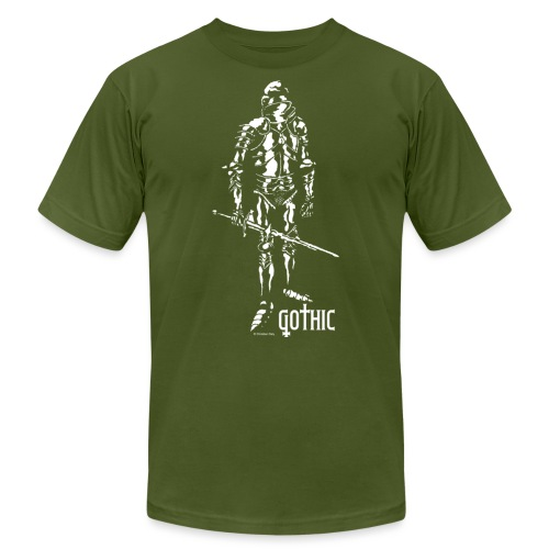 Gothic Knight Men's Standard Black T-shirt - Unisex Jersey T-Shirt by Bella + Canvas