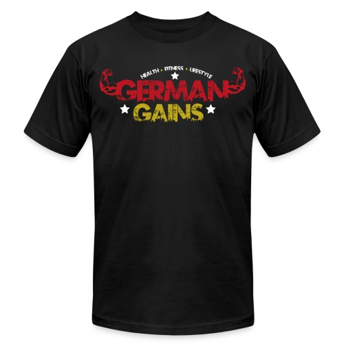 German Gains Logo fuer schwarzes Shirt png - Unisex Jersey T-Shirt by Bella + Canvas