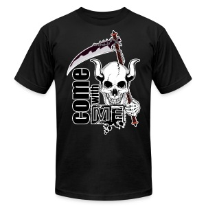 Come with me - Funny Skull with Scythe - Men's Fine Jersey T-Shirt