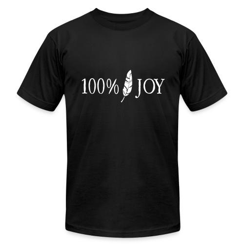 Black T Shirt with White 100% Joy Logo - Men's Fine Jersey T-Shirt