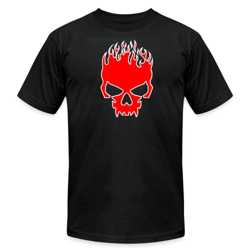 Flaming Red Skull with Tribal Flames - Men's Fine Jersey T-Shirt