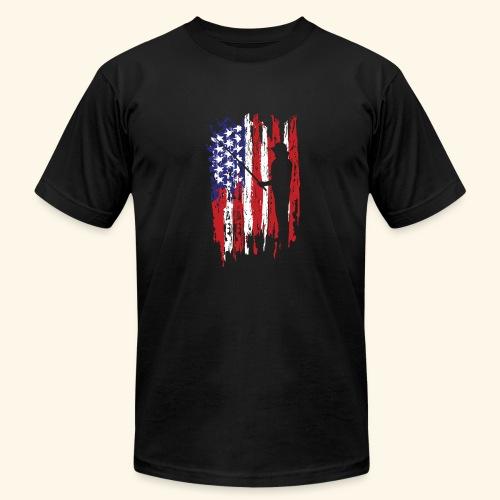 Fisherman US Flag - Men's Fine Jersey T-Shirt