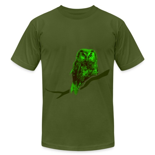 owl bird fowl green - Unisex Jersey T-Shirt by Bella + Canvas