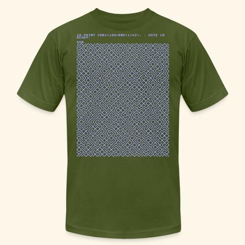 10 PRINT CHR$(205.5 RND(1)); : GOTO 10 - Unisex Jersey T-Shirt by Bella + Canvas