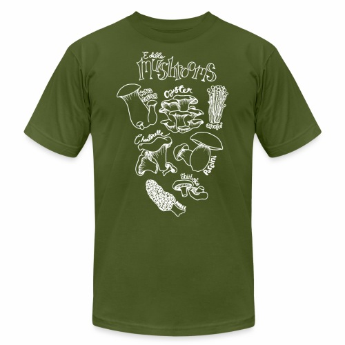 Mushrooms- White - Unisex Jersey T-Shirt by Bella + Canvas