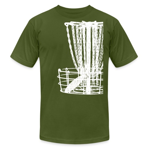 Disc Golf Basket Shirt Distressed White Print - Unisex Jersey T-Shirt by Bella + Canvas