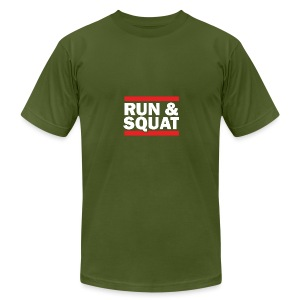 Run Squat White on Dark by Epic Greetings - Men's Fine Jersey T-Shirt