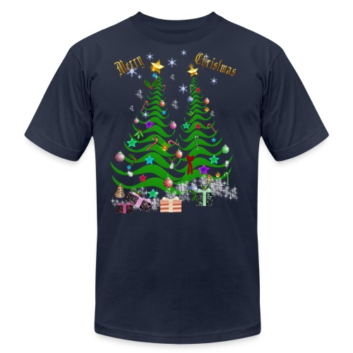 Artsy Christmas Tree and Decorations - Unisex Jersey T-Shirt by Bella + Canvas