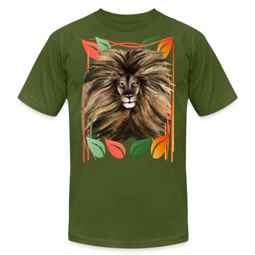 Big Cat and Colorful Jungle - Unisex Jersey T-Shirt by Bella + Canvas