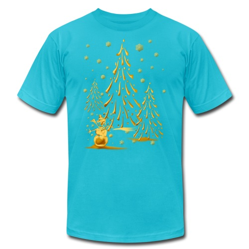 Gold Snowman and Christmas Tree - Unisex Jersey T-Shirt by Bella + Canvas