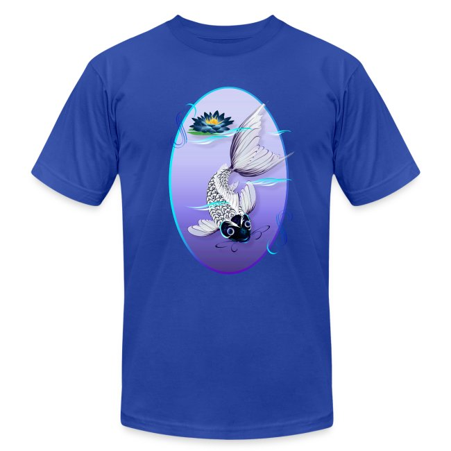 White Koi-Blue Lily Oval