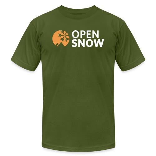 OpenSnow Logo Horizontal White - Unisex Jersey T-Shirt by Bella + Canvas