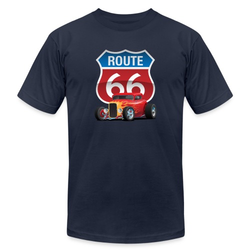 Route 66 Sign with Classic American Red Hotrod - Unisex Jersey T-Shirt by Bella + Canvas