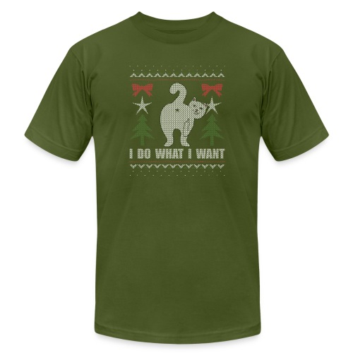 Ugly Christmas Sweater I Do What I Want Cat - Unisex Jersey T-Shirt by Bella + Canvas