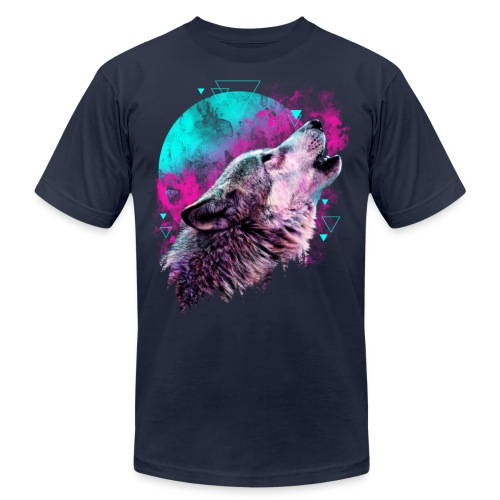 Colorful Wolf Howling T-shirt - Unisex Jersey T-Shirt by Bella + Canvas
