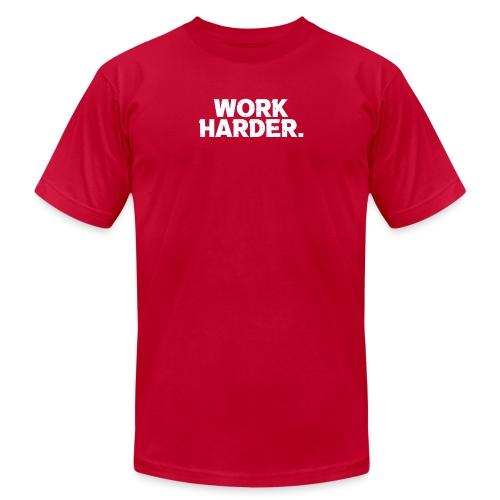 Work Harder distressed logo - Unisex Jersey T-Shirt by Bella + Canvas