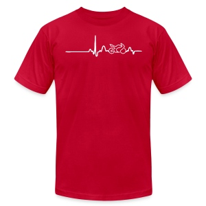 EKG HEARTLINE BIKE white - Men's T-Shirt by American Apparel