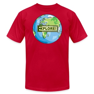 EXPLORE! Logo on the Earth - Men's T-Shirt by American Apparel