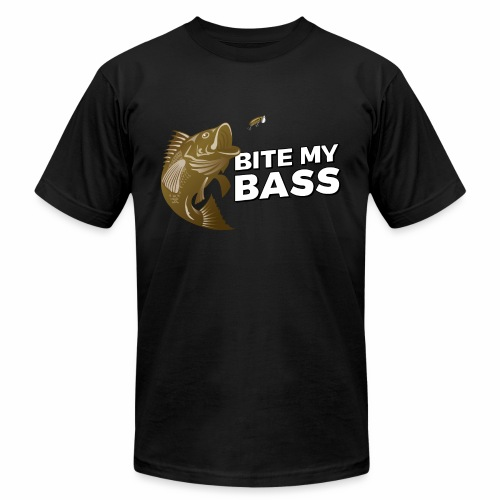 Bass Chasing a Lure with saying Bite My Bass - Men's Jersey T-Shirt