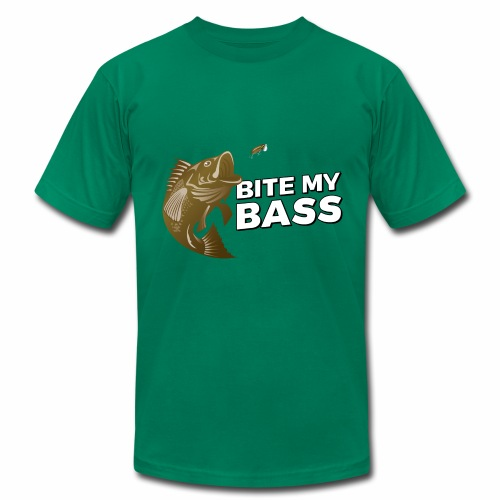 Bass Chasing a Lure with saying Bite My Bass - Men's Fine Jersey T-Shirt
