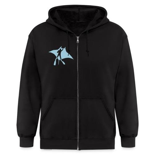 manta ray sting scuba diving diver dive fish ocean - Men's Zip Hoodie