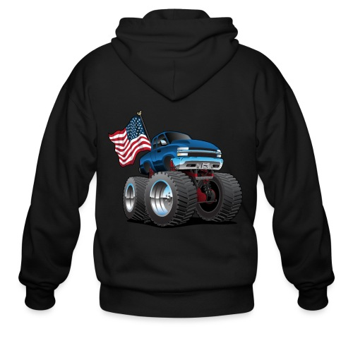 Monster Pickup Truck with USA Flag Cartoon - Men's Zip Hoodie