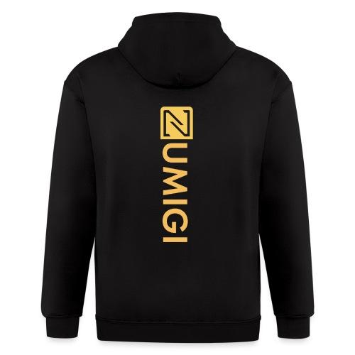 Black Jacket, Yellow Logo - Men's Zip Hoodie