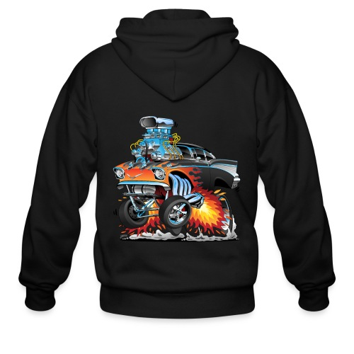 Classic hot rod 57 gasser dragster car cartoon - Men's Zip Hoodie