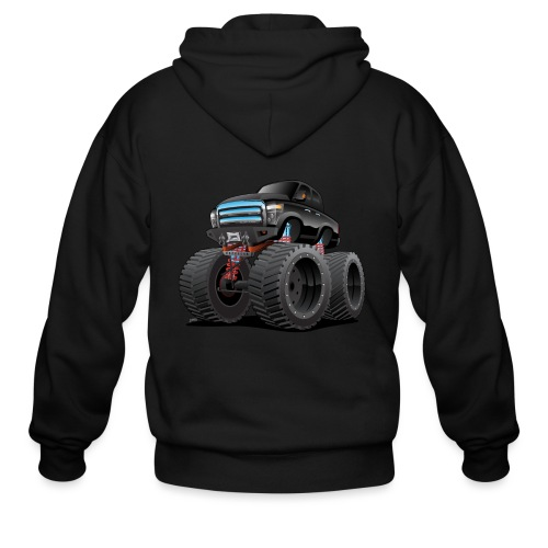 Monster Pickup Truck Cartoon - Men's Zip Hoodie