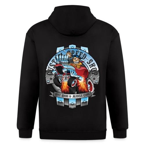 Custom Speed Shop Hot Rods and Muscle Cars Illustr - Men's Zip Hoodie