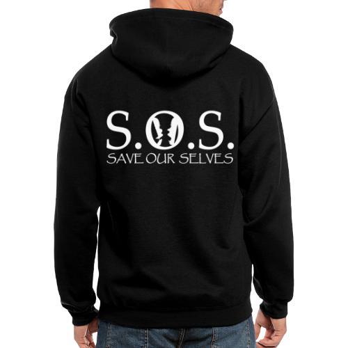 SOS WHITE4 - Men's Zip Hoodie