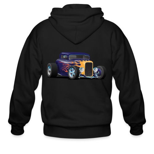 Vintage Hot Rod Car with Classic Flames - Men's Zip Hoodie