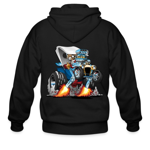Custom T-bucket Roadster Hotrod Cartoon - Men's Zip Hoodie
