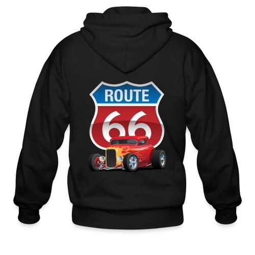 Route 66 Sign with Classic American Red Hotrod - Men's Zip Hoodie