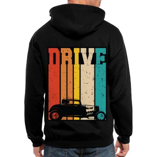 Drive Retro Hot Rod Car Lovers Illustration - Men's Zip Hoodie