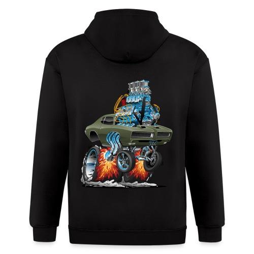 Classic American Muscle Car Hot Rod Cartoon - Men's Zip Hoodie