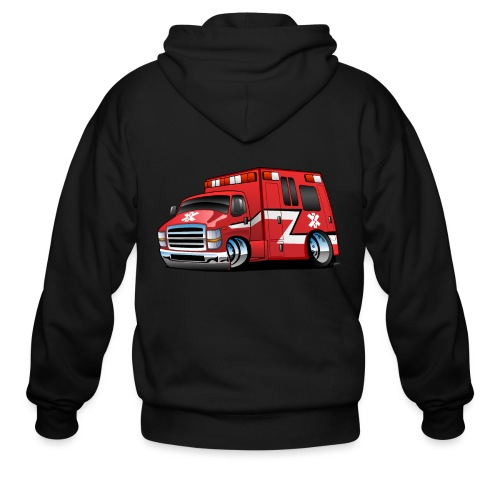 Paramedic EMT Ambulance Rescue Truck Cartoon - Men's Zip Hoodie