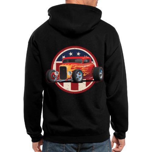 Vintage American 32 Hot Rod Coupe Car Illustration - Men's Zip Hoodie