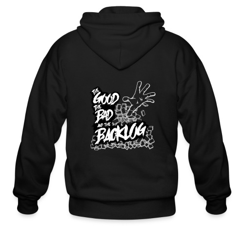 The Good, the Bad, and the Backlog - White logo2 - Men's Zip Hoodie