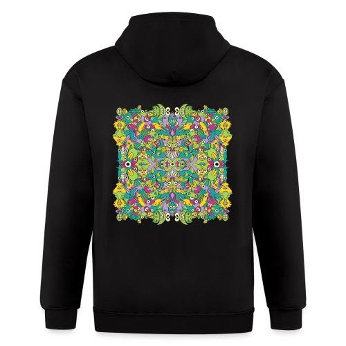 Odd Doodle art monsters in a colorful pattern - Men's Zip Hoodie