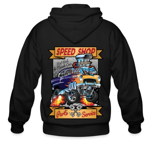 Speed Shop Hot Rod Muscle Car Cartoon Illustration - Men's Zip Hoodie