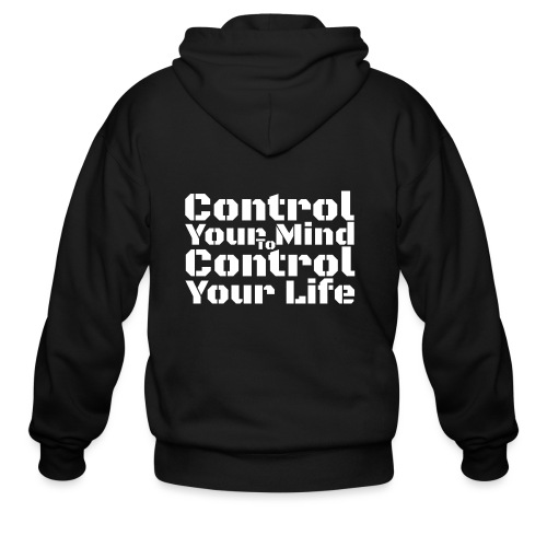 Control Your Mind To Control Your Life - White - Men's Zip Hoodie