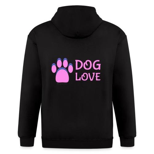 Pink Dog paw print Dog Love - Men's Zip Hoodie