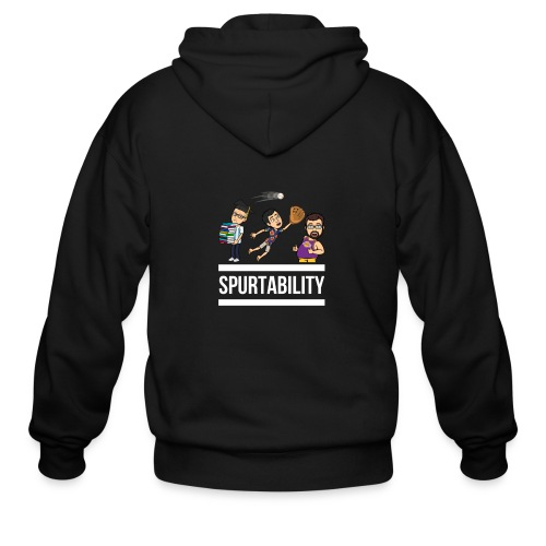 Spurtability White Text - Men's Zip Hoodie